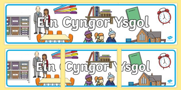 Baner Ein Cyngor Ysgol Baner Arddangosfa - Dysgu Cymraeg fel Ail Iaith, Welsh