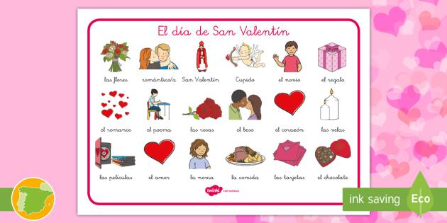 NEW * Tapiz De Vocabulario: El Día De San Valentín   Día De Los