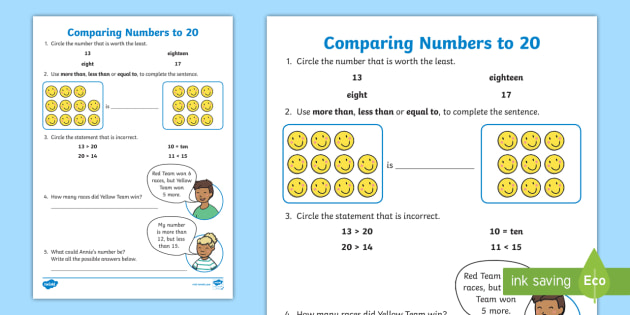 Comparing Numbers to 20 Worksheet - comparing and ordering numbers ...