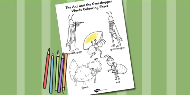The Ant and the Grasshopper Words Colouring Sheet - Grasshopper