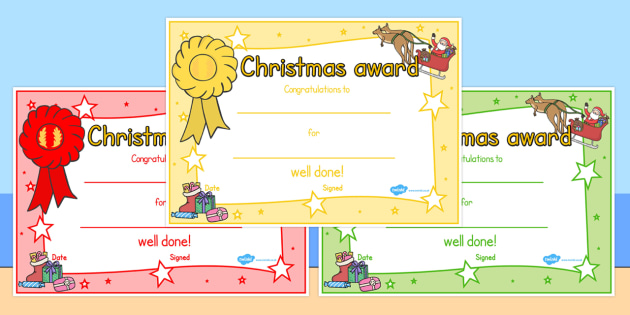 Christmas Themed Reward Certificates - australia, christmas