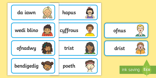 Feelings Face Matching Cards Welsh - Welsh Language Pattern Themed Resources, Welsh, Feelings, Emotions, Sut wyt ti?,Welsh