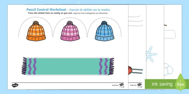 Winter Pencil Control Worksheet / Activity Sheets Italian