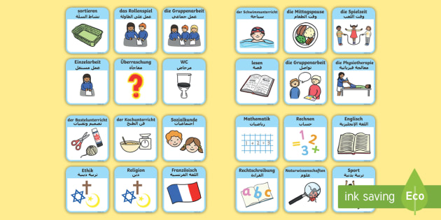Deutsch-Arabischer DaF/DaZ visueller Stundenplan für die