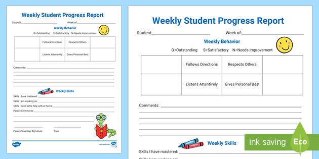 Editable Weekly Student Progress Report Teacher Made