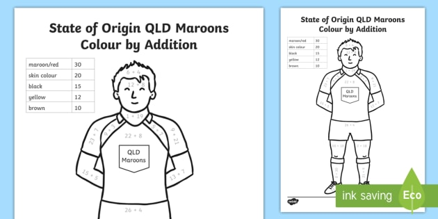 State of Origin QLD Maroons Colour by Addition Colouring Page