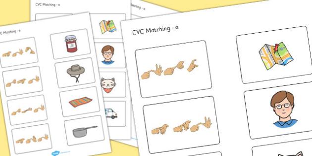 CVC Matching Activity a with British Sign Language - cvc, sign