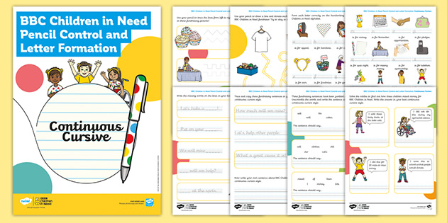 BBC Children in Need Pencil Control and Letter Formation Continuous Cursive Handwriting Activity Booklet