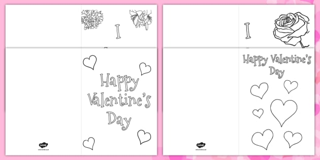 Valentine S Day Card Coloring Templates Valentine S Day