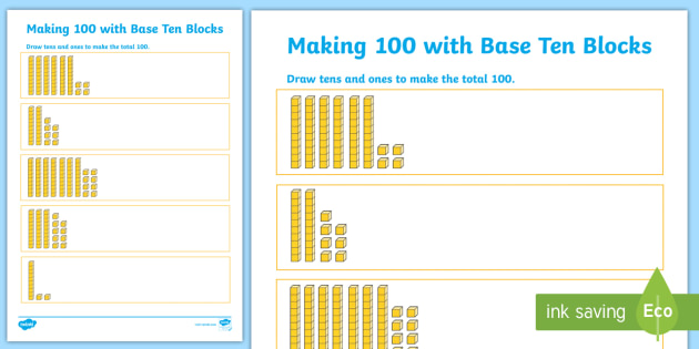 Activities and Games Base Ten Blocks Primary Resources Page 1 – Base Ten Blocks Worksheets