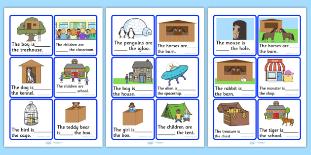 Outside And Inside Picture Cards - positional language, visual aids