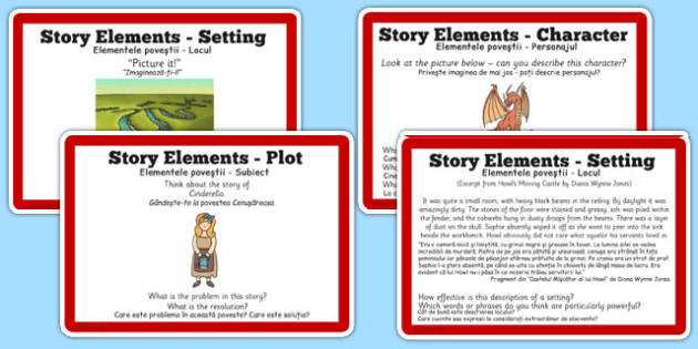 Guided Reading Skills Task Cards Story Elements Romanian Translation - romanian, reading