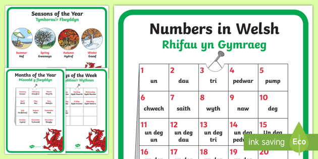 Learning Welsh as a Second Language Display Posters - Learning Welsh, months of the year, days of the week, seasons, introducing yourself in Welsh, Welsh