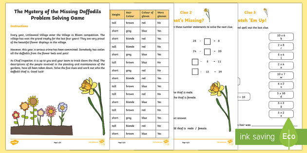 Ks1 The Mystery Of The Missing Daffodils Problem Solving Game Spring