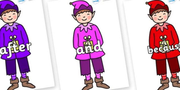 Connectives on Boy Elves (Multicolour) - Connectives, VCOP, connective resources, connectives display words, connective displays