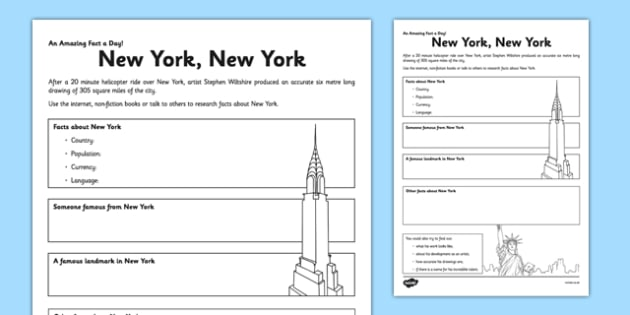 New York, New York Worksheet / Activity Sheet - new york, facts, research, fact of the day, activity, worksheet
