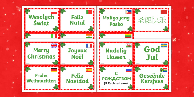 photo regarding Merry Christmas in Different Languages Printable identify Merry Xmas in just Substitute Languages Flashcards - languages