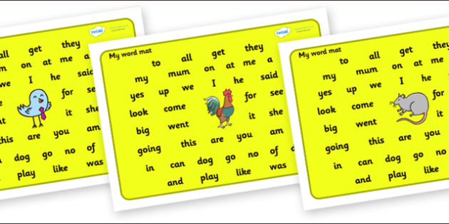 My Word Mat Foundation Stage 2 For Visually Impaired-word mat, foundation stage two, visually impaired, visually impaired word mat, literacy