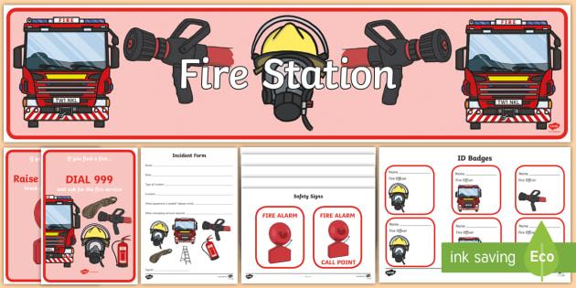 Fire Station Role Play - Fire station Role Play, fire station, fire station resources, fire service, fire fighter, fire man, fire engine, people who help us, emergency, fire hose, fireman's pole, helmet, siren, fire, role play, display, poster,