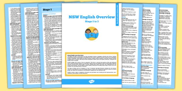 NSW Stage 1-3 Foundation to Year 6 English Syllabus Overview - australia