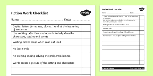 Fiction Work Checklist - fiction, fiction work, fiction checklist, fiction writing, ks2 writing, story writing, story writing checklist, ks2 english, ks2