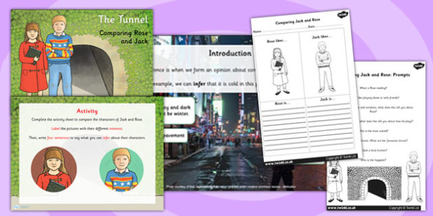 Comparing Rose and Jack PowerPoint Activity Pack to Support Teaching on The Tunnel by Anthony Browne
