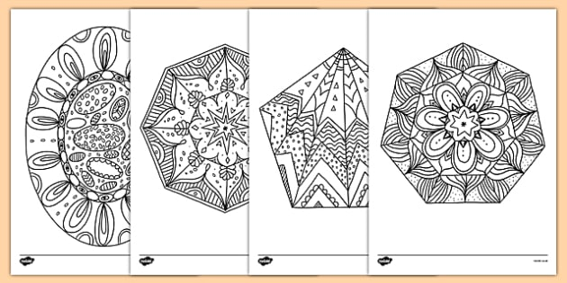Mindfulness Colouring 2D Shapes - mindfulness, colouring, 2d shapes