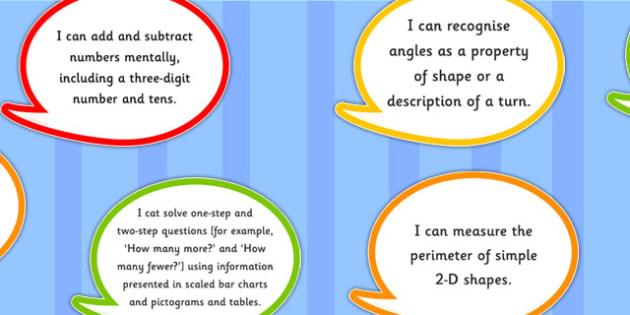 2014 National Curriculum Year 3 Maths Assessment I Can Speech Bubbles