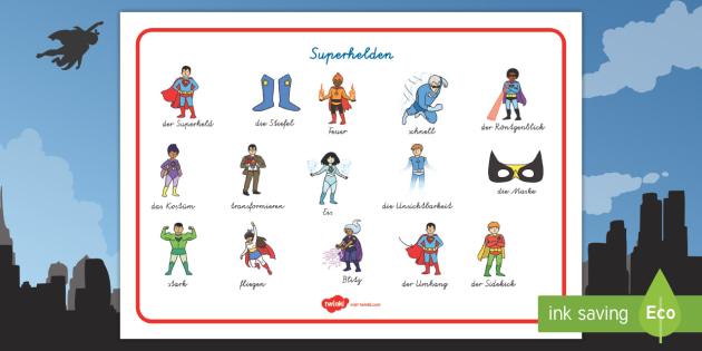 Superhelden Wortschatz: Querformat - Superhelden, Schreibhilfe