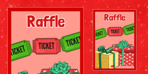 Christmas Themed Raffle Poster - christmas fair, display poster, display, poster, raffle