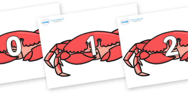 Numbers 0-31 on Crabs - 0-31, foundation stage numeracy, Number recognition, Number flashcards, counting, number frieze, Display numbers, number posters