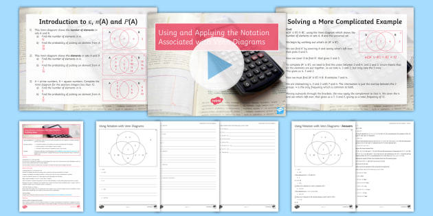 Maths Mastery Using The Notation Associated With Venn Diagrams