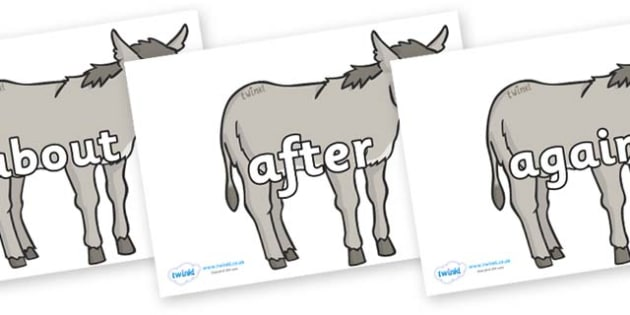 KS1 Keywords on Donkeys - KS1, CLL, Communication language and literacy, Display, Key words, high frequency words, foundation stage literacy, DfES Letters and Sounds, Letters and Sounds, spelling