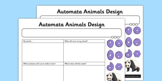 Automata Animals - Automata Animals Design Activity Sheet - innovative, functional, automata animals, worksheet