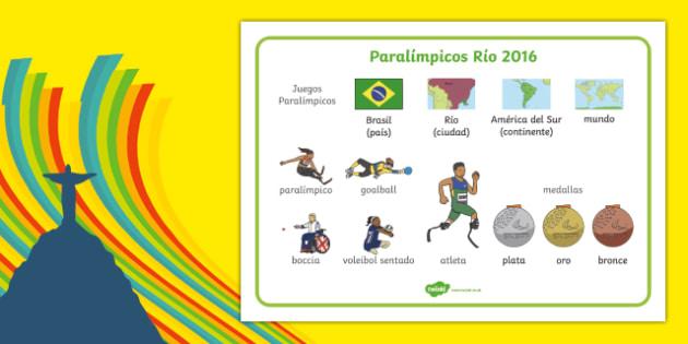 Paralímpicos Río 2016 - spanish, Paralympics, Rio 2016, Brazil, Word Mat, Key words, Key vocabulary, Literacy, English, Special Educational Needs, Language development, Disability Awareness