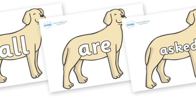 Tricky Words on Dogs - Tricky words, DfES Letters and Sounds, Letters and sounds, display, words