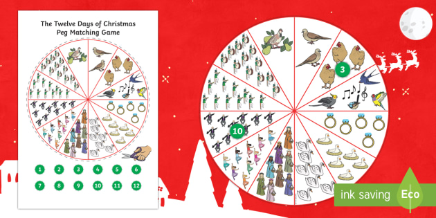 Twelve Days of Christmas Peg Matching Game - twelve days of christmas, peg, matching, game