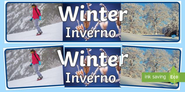 Four Seasons Photo Display Banner Winter English/Italian - four seasons, winter, display banner, winter display banner, winter banner, photo display banner, wi