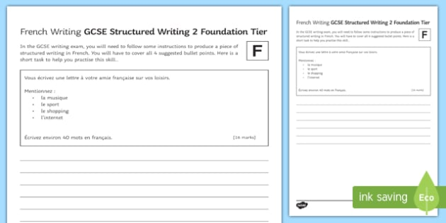 GCSE French Structured Writing 2 Foundation Tier Worksheet / Activity Sheet