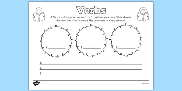 Verbs Comprehension Worksheet - verbs, comprehension, worksheet