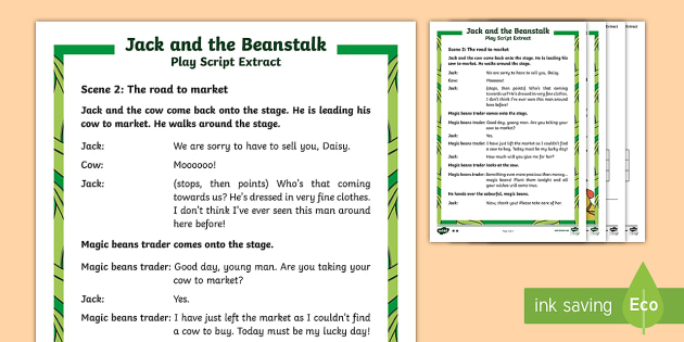 KS1 Jack and the Beanstalk Play Script Extracts Differentiated Reading Comprehension Activity - SEO English Resources (please check as normal), Jack and the beanstalk, jack and the beanstalk, KS1