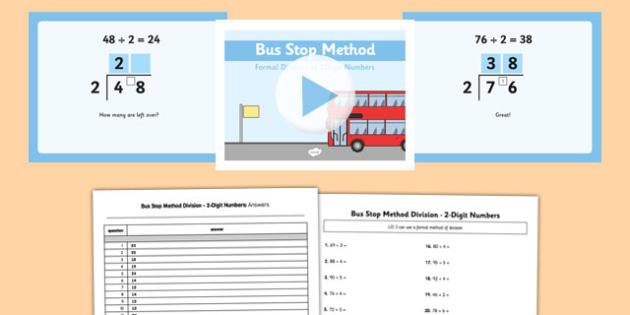 formal division 2 digit numbers bus stop method pack formal division 2. Black Bedroom Furniture Sets. Home Design Ideas