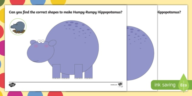 Hippopotamus Shape Worksheet / Activity Sheet Pack to Support Teaching on The Enormous Crocodile - Humpy Rumpy Hippopotamus, The Enormous Crocodile, Roald Dahl, worksheet