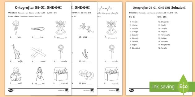 Scuola primaria ge gi ghe ghi esercizio di ortografia for Parole con ge gi ghe ghi