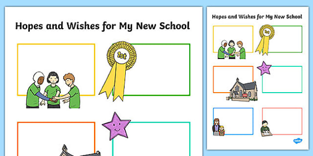 Hopes and Wishes for My New School Primary SEN Activity Sheet, worksheet
