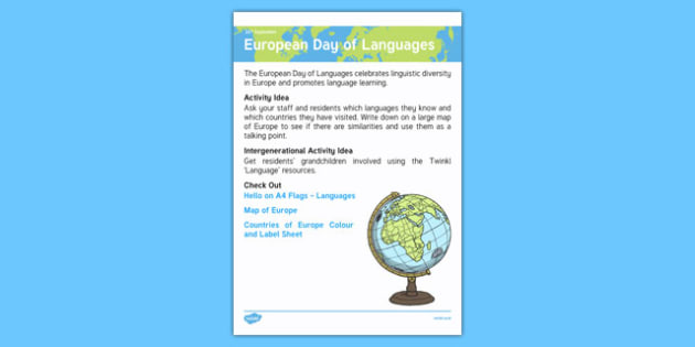 Elderly Care Calendar Planning September 2016 European Day Of Languages Pdf European Day Of Languages - Elderly Care, Calendar Planning, Care Homes, Activity Co-ordinators, Support, September 2016