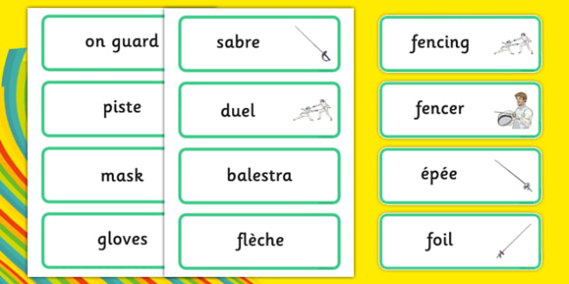 The Olympics Fencing Word Cards - Fencing, Olympics, Olympic Games, sports, Olympic, London, 2012, word card, flashcards, cards, activity, Olympic torch, events, flag, countries, medal, Olympic Rings, mascots, flame, compete