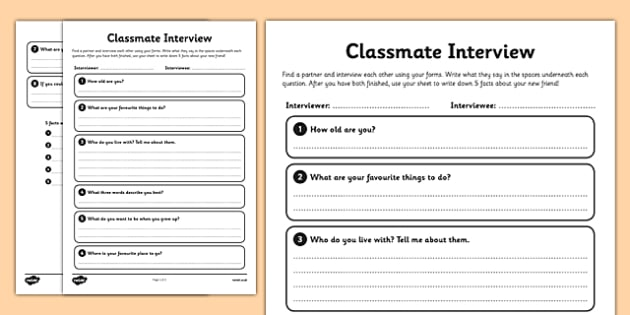 New Classmate Interview Activity Sheet - interview, activity, sheet, worksheet