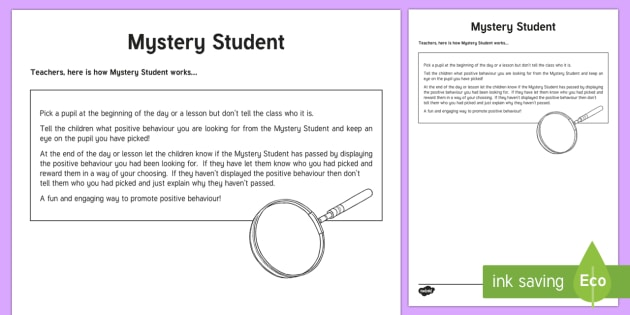 Mystery Student Explanation Sheet - Mystery Student, behaviour management,Scottish, cfe, Scotland