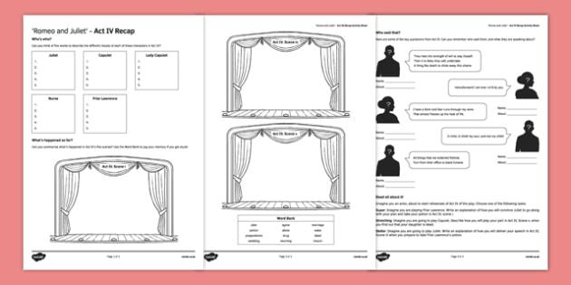 Romeo and Juliet Act IV Activity Sheet, worksheet